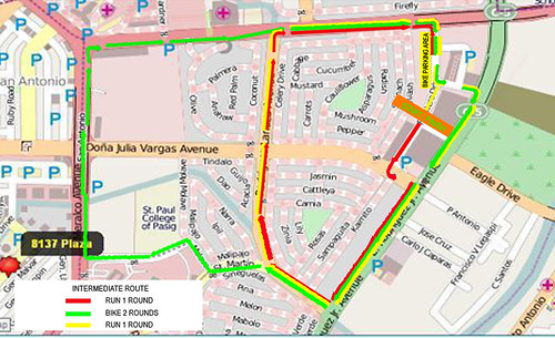 The Urban Duathlon 2010 - Intermediate Race Map