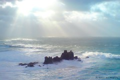 It's over, for now! (Wilamber) Tags: blue light cliff sunlight storm green grey interesting rocks cornwall waves god exploring gray william lord lizard foam breakers rollers distance exploration shining thunder shaft chard clifftop lordwilliamchard wwwlordwilliamchardcouk