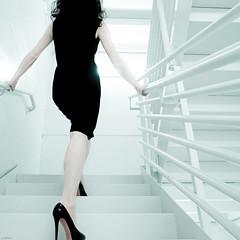 231 | 365 behind (sweethardt) Tags: portrait woman white building female self stair photographer apartment sony stairwell rails 365 brunette railings stilettos lbd littleblackdress christianlouboutin a700 365days jenniferhardt