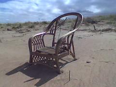 Chair on the Beach (Sandy Beach Cat) Tags: uk sky beach grass scotland nokia sand chair phone empty dunes lothian tyneinghame