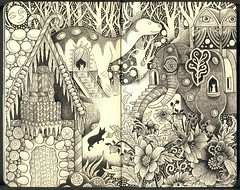 Guest Houses in Heaven (pageofbats) Tags: house elephant moleskine illustration ink heaven dinosaur gingerbread dahlias