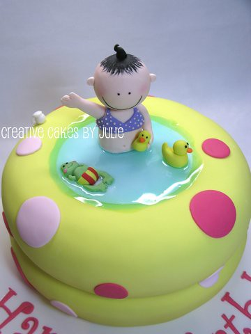 Blow-up baby pool cake
