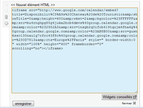 Google agenda Collage du code html