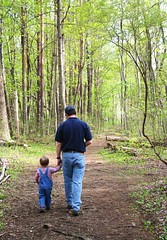 Father and Son (i need my blankie) Tags: old trees forest john woods hiking father young son behind braeden fatherhood storybookwinner pregamewinner