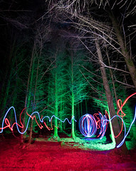 Art attak (c@rljones) Tags: red lightpainting green wales night forest dark circle scary woods colours cymru eerie spooky torch sphere headlight gwynedd nefyn strobes nantgwrtheryn httpwwwrljonescouk