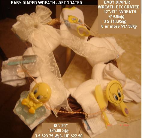 Baby Diaper Wreath Decorated