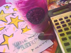 you make me feel butterlies (: (annie escobedo) Tags: pink color composition paper stars message quote things starbucks calculator erases