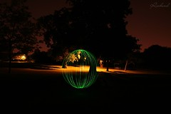 Light Painting (Richard Cowdrey) Tags: park light lightpainting tree green night canon painting circle eos orb hampshire havant 400d richardcowdrey