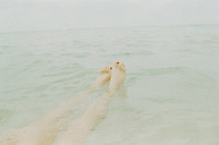 35mm (HereNorth) Tags: ocean red sea woman film feet beach water girl puerto photography toes north here rico suit 400 mm brunette bathing 35 toenails herenorth