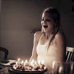 Make a wish (*Kicki*) Tags: birthday people girl cake square happy nikon pretty candles sweet breath nikond100 sparkle d100 wish thirteen 2010 kicki svenskaamatrfotografer kh67