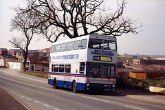 A Timesaver passes through Hawkes Green, 1990 bound for Hednesford (Walsall1955) Tags: bus buses cannock westmidlandstravel twm hednesford timesaver 2941 wmt d941nda limitedstop hawkesgreen