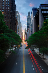 Manhattanhenge from 42nd Street, New York City (andrew c mace) Tags: nyc newyorkcity longexposure bridge sunset manhattan tokina1224 solstice chryslerbuilding manhattanhenge 42ndstreet tudorcity photomatix blendedexposures nikoncapturenx nikond90 exposurefusion