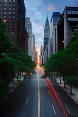 Manhattanhenge from 42nd Street, New York City (andrew c mace) Tags: nyc newyorkcity longexposure bridge sunset manhattan tokina1224 solstice chryslerbuilding manhattanhenge 42ndstreet tudorcity photomatix blendedexposures nikoncapturenx nikond90 exposurefusion
