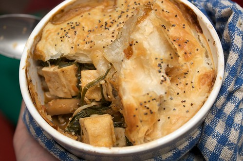 tofu, mushroom and spinach pot pies inside view