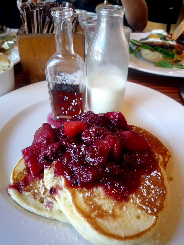 Orange buttermilk pancakes with blackberry and apple compote
