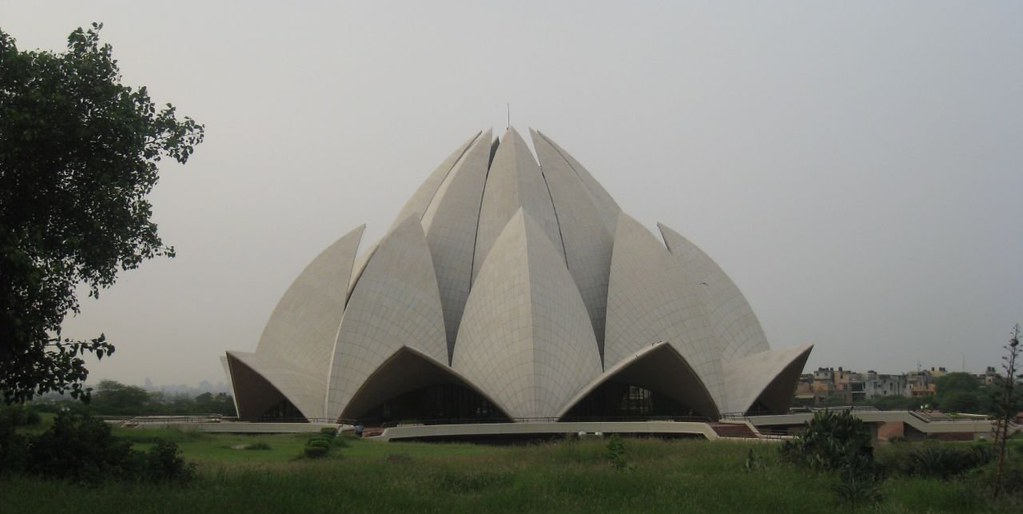 The Bahá'í House of Worship in Delhi is known as the Lotus Temple due to its shape. It is open to people of all faiths.