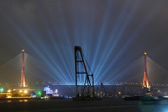 Shanghai - Yangpu Bridge (cnmark) Tags: china bridge light ferry night port river giant geotagged noche boat barco ship shanghai expo nacht harbour crane floating vessel cable nave huge noite   nuit schiff barge notte breathtaking stayed 2010 nachtaufnahme huangpu navire   yangpu yangpubridge  schwimmkran navo allrightsreserved   geo:lon=121514706 breathtakinggoldaward breathtakinghalloffame mygearandmepremium mygearandmebronze mygearandmesilver geo:lat=31246833  rememberthatmomentlevel1 rememberthatmomentlevel2
