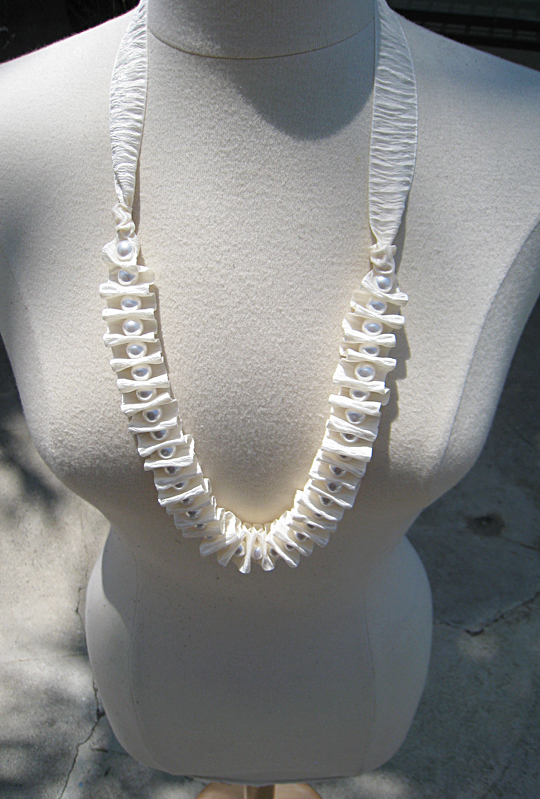 Bark Ribbon and Pearl Necklace -dress form-Long