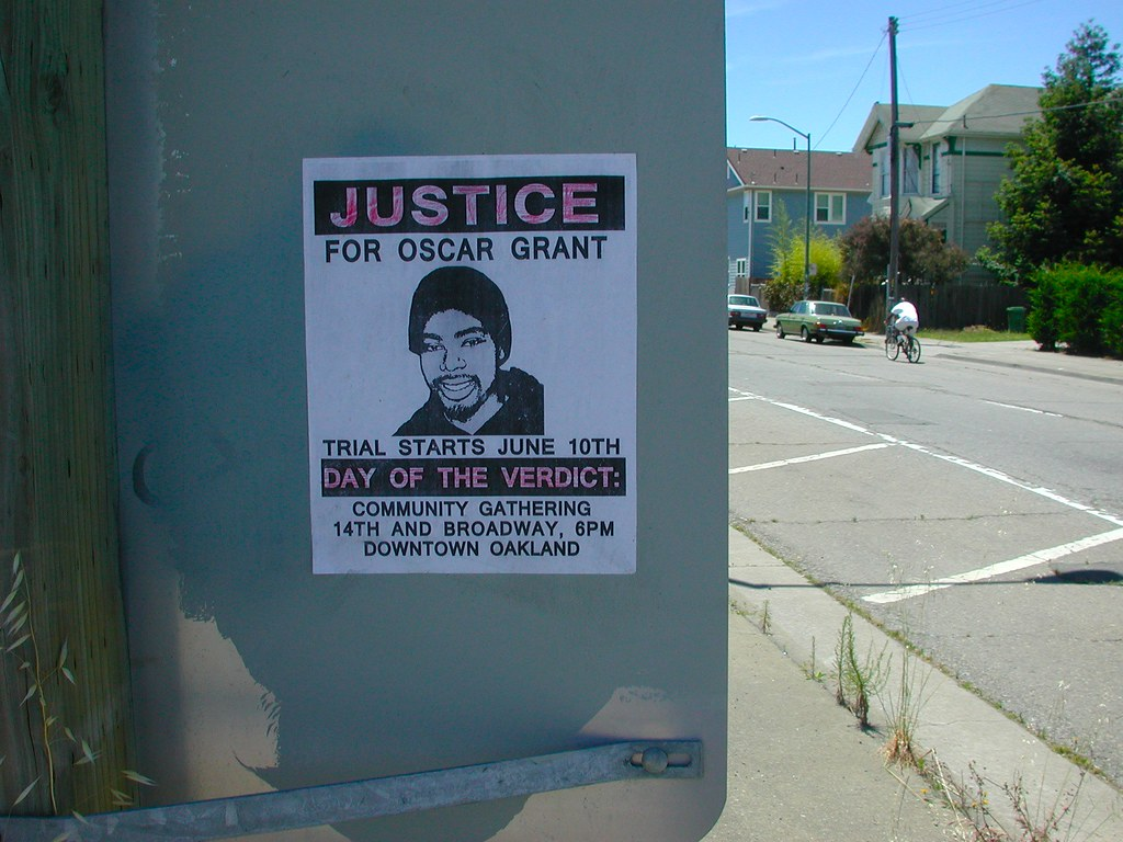 Justice for Oscar Grant, Street Art, Oakland, Graffiti, poster, June 10, Trail, stand up fight back