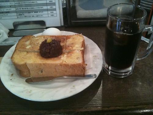 小倉トーストの名古屋セット、おいしく頂きました。