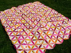 Josephs coat quilt top (flossyblossy) Tags: orange good quilting mendocino peel patchwork applique folks josephs voat