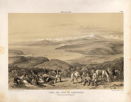 033-El pico del Aconcagua tomado de los altos de Valparaiso-Atlas de la historia física y política de Chile-1854-Claudio Gay