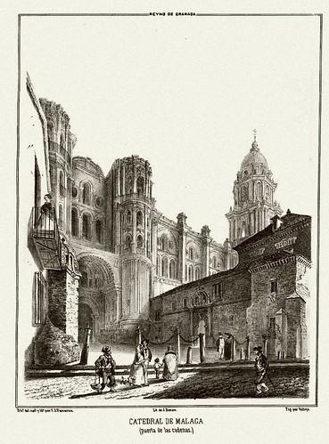 015-Catedral de Malaga-puerta de las cadenas-Recuerdos y bellezas de España-Reino de Granada