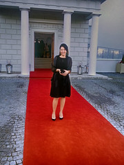 Nina on the Red Carpet:) Aras An Uachtarain - Official Residence of the President of Ireland, Dublin (sean and nina) Tags: mobile phone image photo red carpet special guest aras an uachtarain dublin ireland irish president state dinner croatian serb event occasion formal dress tights shoes handbag hairstyle make up pillars white building architecture residence phoenix park beauty beautiful gorgeous stunning elegant charming woman female girl lady fiancee wife married girlfriend nina people person outdoors outside