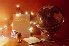 (patrickjoust) Tags: stars childrens book shrubs death old globe christmas lights fireplace mantel cccp polaroid picture print 120 6x9 medium format 90mm f35 fujinon lens rangefinder chrome slide e6 color reversal expired discontinued film cable release tripod long exposure domestic home inside low light manual focus analog mechanical patrick joust patrickjoust baltimore maryland md usa us united states north america estados unidos