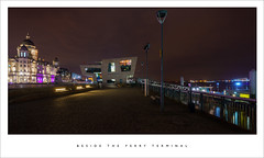 Beside the ferry terminal (Parallax Corporation) Tags: liverpool ferryterminal beatlesmuseum dock nightime cobbles merseyferries spotlights