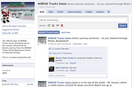 NORAD Tracks Santa On Facebook