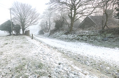 Barren Lane (Mindful Youth) Tags: old blue trees sky panorama sun house mist snow cold field grass silhouette fog landscape frost bare branches special lane countrylandscapes