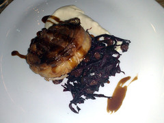 Pork belly and red cabbage at The Grain Store, Edinburgh