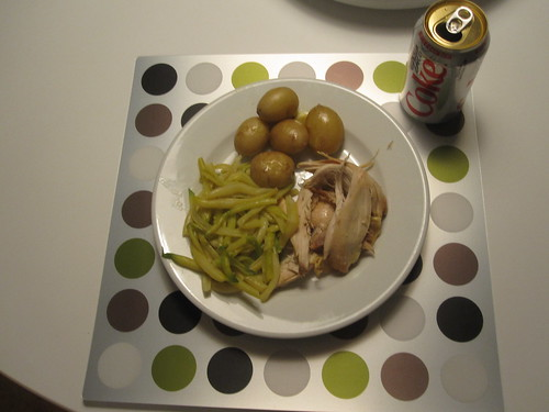 chicken, potatoes, beans, Diet Coke
