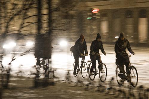 Snowstorm Cyclists