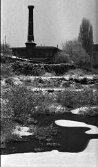 Grainy Snow (me vs gutenberg) Tags: winter snow film germany blackwhite grain apx100 expired rhine altstadt oldtown rhein mainz schwarzweis nikonseriese50mmf18 aph0915015mins22°c