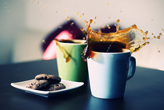 Coffee for Two (torode) Tags: wood two brown green cup coffee cookies table 50mm mess sony january plate mug droplet splash 2010 a300  explored chocochipcookies  doublesplash  bentorode benjamintorode