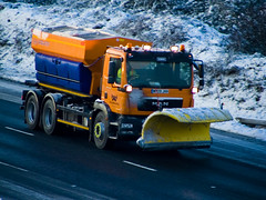 Snow Plough Colour (pandawizard) Tags: snow truck grit lorry finepix fujifilm shovel s5500 plough snowplough spreading spreader gritter