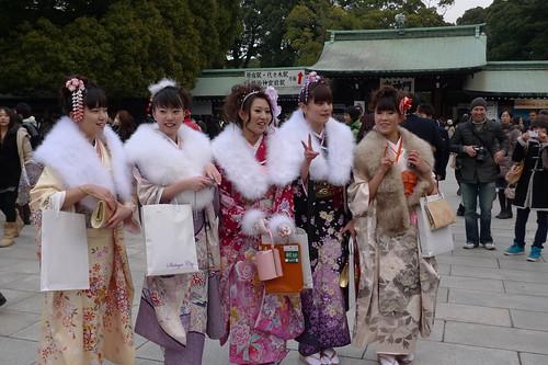 Group of kimono girls