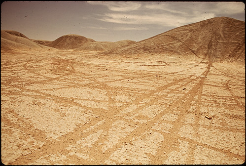 Volcanic Dunes Criss-Crossed with Tracks of Motorcycles and Dune Buggies