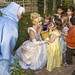 Cinderella and Fairy Godmother greet the party