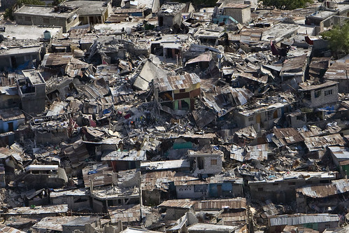 A poor neighbourhood shows the damage after an earthquake measuring 7 plus on the Richter scale rocked Port au Prince Haiti just before 5 pm yesterday, January 12, 2010.