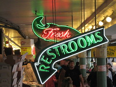 Pike Place Market: Fresh Restrooms (TruszNews) Tags: seattle neon pikeplacemarket