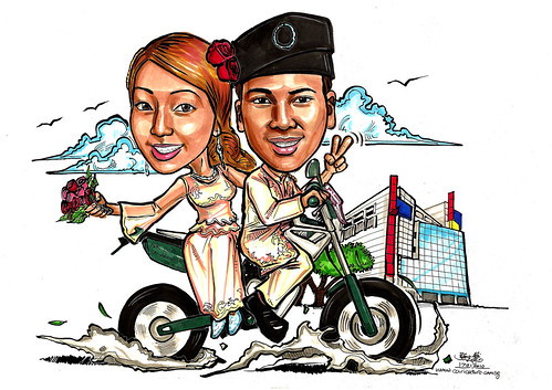 Malay couple wedding caricatures on bike to Cineleisure A4