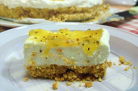 cheese cake al mascarpone con mostarda di kiwi