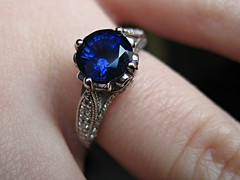 Sapphire Engagement Ring (pr0digie) Tags: macro closeup engagement jewelry ring diamond heirloom platinum topview accents sapphire gemstones brilliantearth