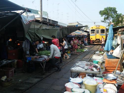 Maeklong Station Market