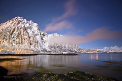 Svolvr, Lofoten Islands (antonyspencer) Tags: ocean winter snow seascape mountains cold norway night circle landscape islands calm arctic fjord spencer antony lofoten svolvaer