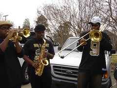 Red and Black Brass band, Blanc et Noir in the Krewe of Highland Parade, Shreveport by trudeau