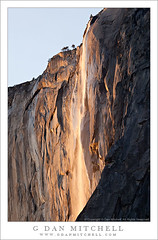 Horsetail Fall, Sunset (G Dan Mitchell) Tags: california park travel winter light sunset shadow cliff usa mist mountain tree fall nature water skyline creek landscape fire evening waterfall nevada stock scenic spray sierra crack ridge national valley yosemite ledge northamerica february elcapitan range yosemitevalley horsetail buttress induro
